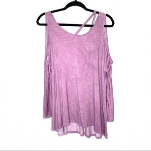 NWT 1.4.3. Story Purple Cold Shoulder Strappy Top